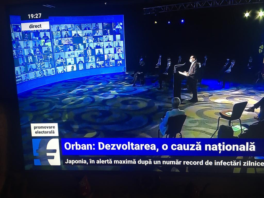 premierul ludovic Orban vorbeste la microfon la lansarea programului de guvernare al PNL