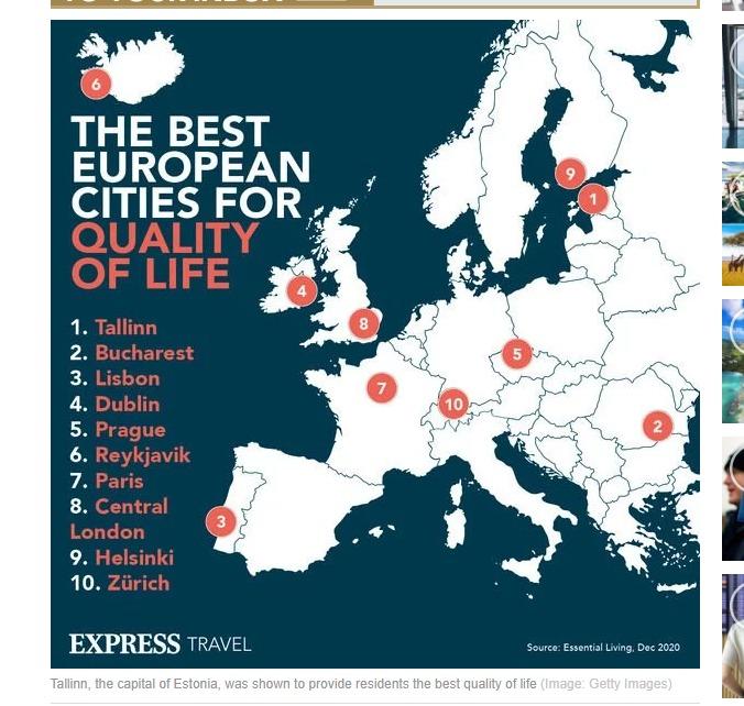 Harta orașelor europene cu cea mai bună calitate a vieții