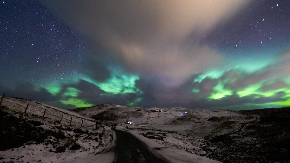 O altă imagine a aurorei de la Brae în Shetland