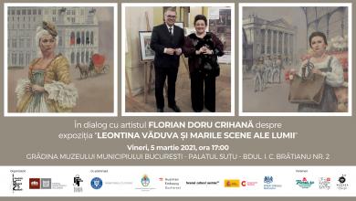 """Photo of Întâlnire cu artistul Florian Doru Crihană la Palatul Șuțu. Finisajul expoziției """"Leontina Văduva și marile scene ale lumii"""""""