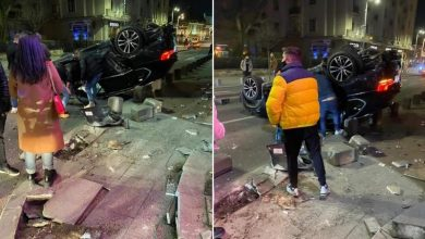 Photo of Accident spectaculos pe Calea Victoriei din București. Un șofer s-a răsturnat cu mașina