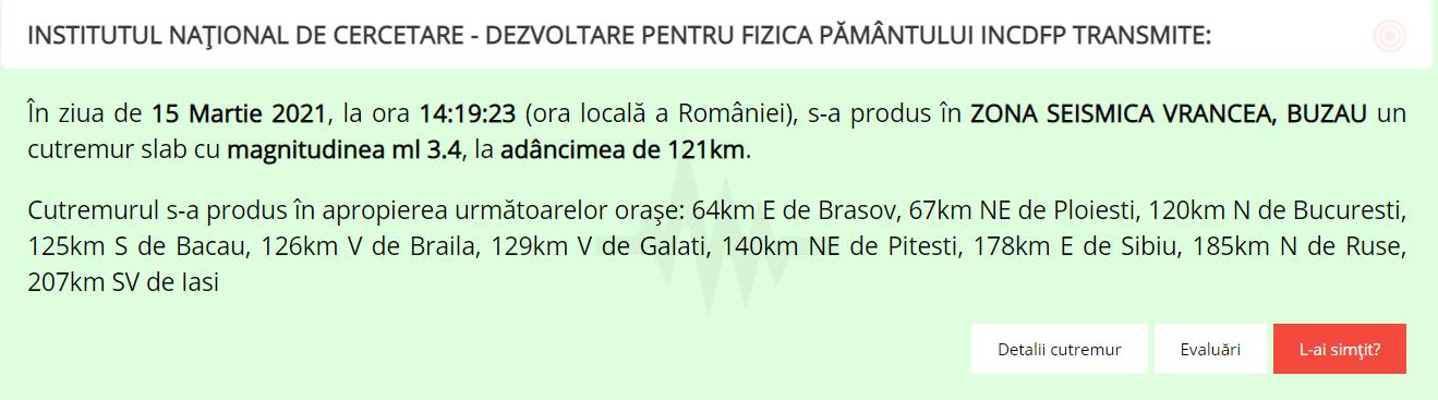 Cutremur de 3.4 grade în Vrancea. Anunțul făcut de INFP