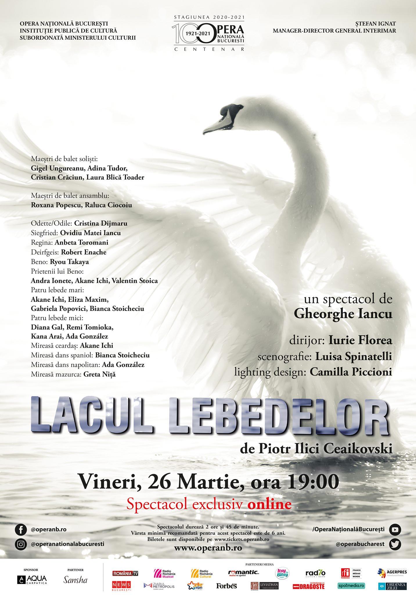"""""""Lacul Lebedelor"""", transmis online, vineri, de Opera Națională București"""