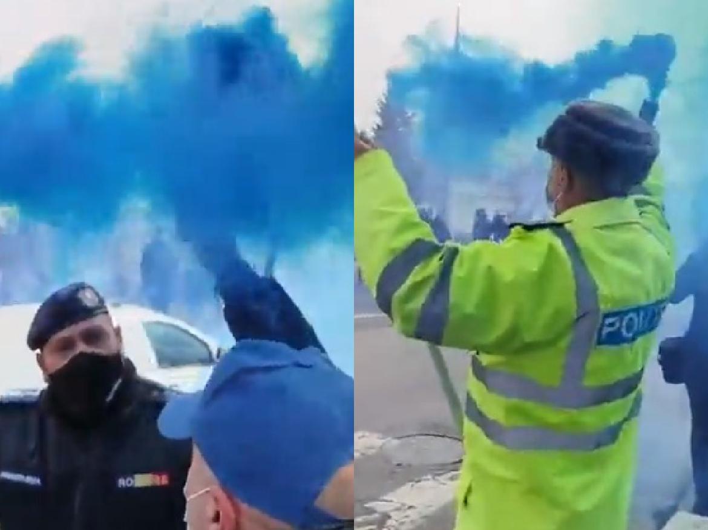 Protest cu fumigene la Ministerul de Interne