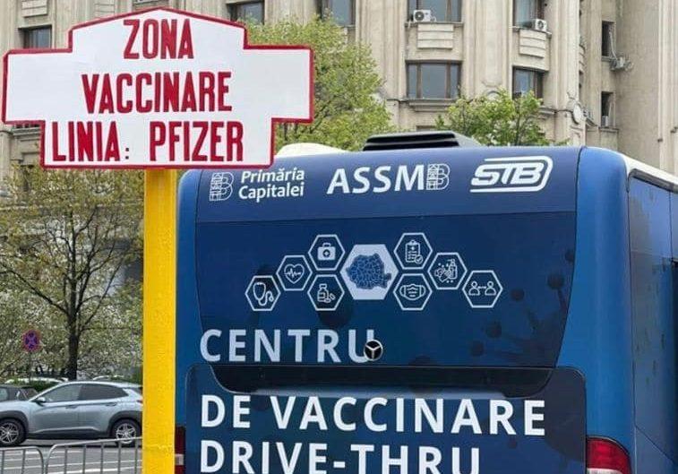 câți oameni s-au vaccinat la centrul drive-thru din Piața Constituției
