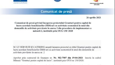 Photo of Comunicat de presă privind începerea proiectului Granturi pentru capital de lucru acordate beneficiarilor IMM-uri cu activitate economică în unul din domeniile de activitate prevăzute în anexa 2 din procedura de implementare a măsurii 2, instituită prin OUG 130/ 2020 (P)