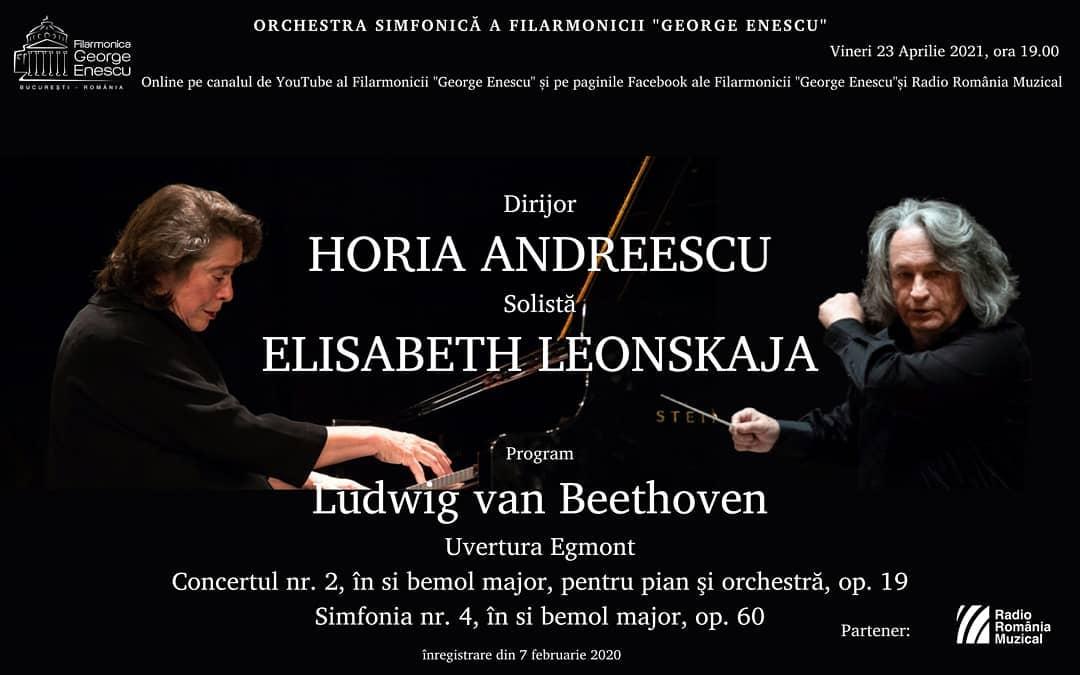 """Pianista Elisabeth Leonskaja și dirijorul Horia Andreescu, în stagiunea online a Filarmonicii """"George Enescu"""""""