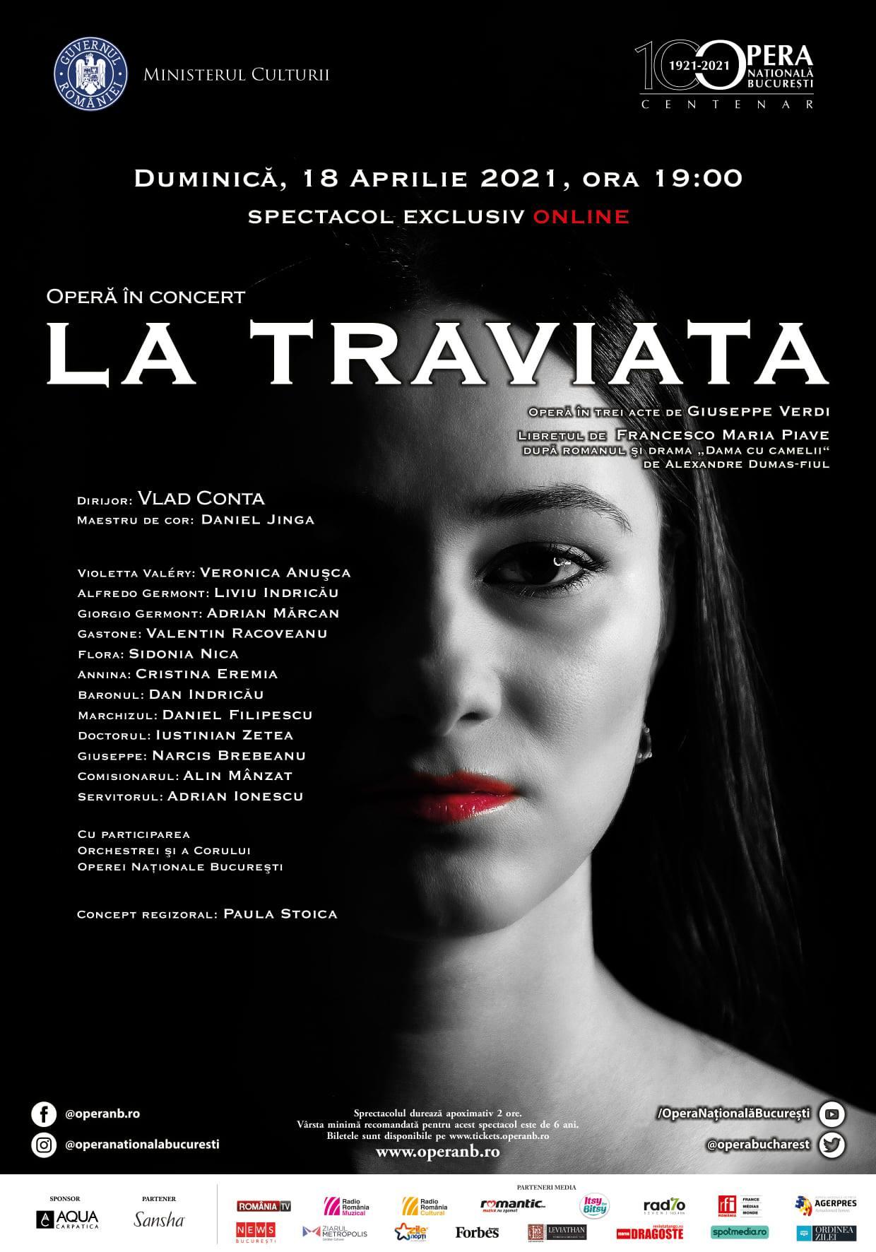 """""""La Traviata"""" – operă în concert, transmisă online de Opera Națională București"""