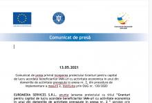 Photo of Comunicat de presă privind începerea proiectului Granturi pentru capital de lucru acordate beneficiarilor IMM-uri cu activitate economică în unul din domeniile de activitate prevăzute în anexa nr. 2, din procedura de implementare a măsurii 2, instituită prin OUG nr. 130/2020 (P)