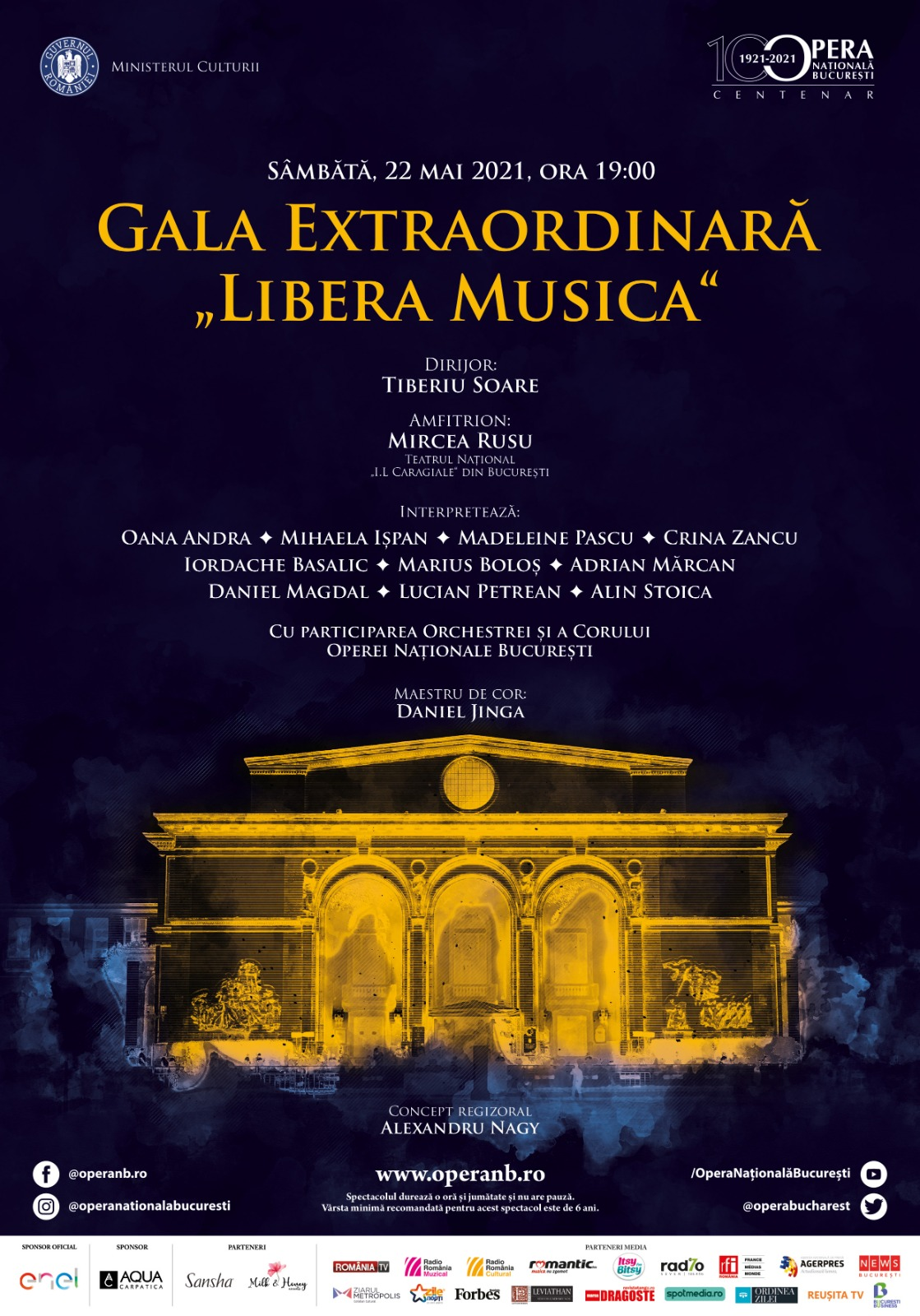 """Gala Extraordinară """"Libera Musica"""", eveniment pilot cu public pe esplanada din fața Operei Naționale București"""