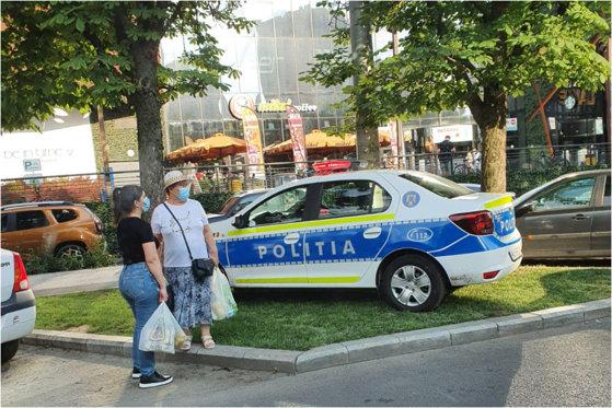 o mașină de poliție a parcat pe spațiul verde