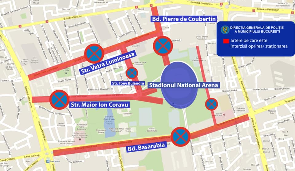 Restricții de parcare în zona Arena Națională, cu ocazia meciurilor de la EURO 2020