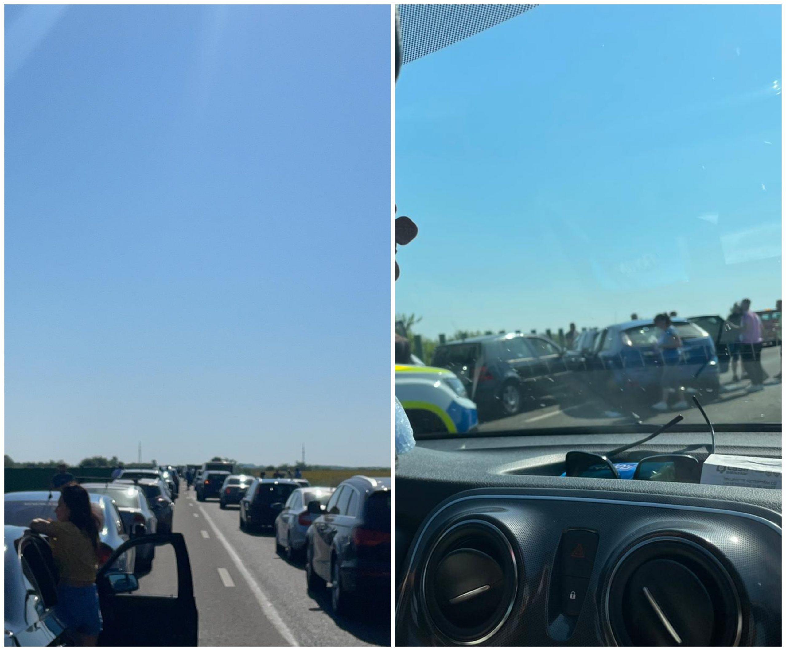 Accident pe A2, sensul București-Constanța. 5 mașini au fost implicate în coliziune FOTO
