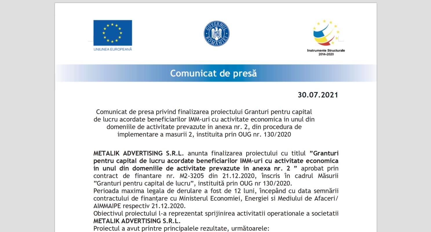 Comunicat de presa privind finalizarea proiectului Granturi pentru capital de lucru acordate beneficiarilor IMM-uri cu activitate economica in unul din domeniile de activitate prevazute in anexa nr. 2, din procedura de implementare a masurii 2, instituita prin OUG nr. 130/2020 (P)