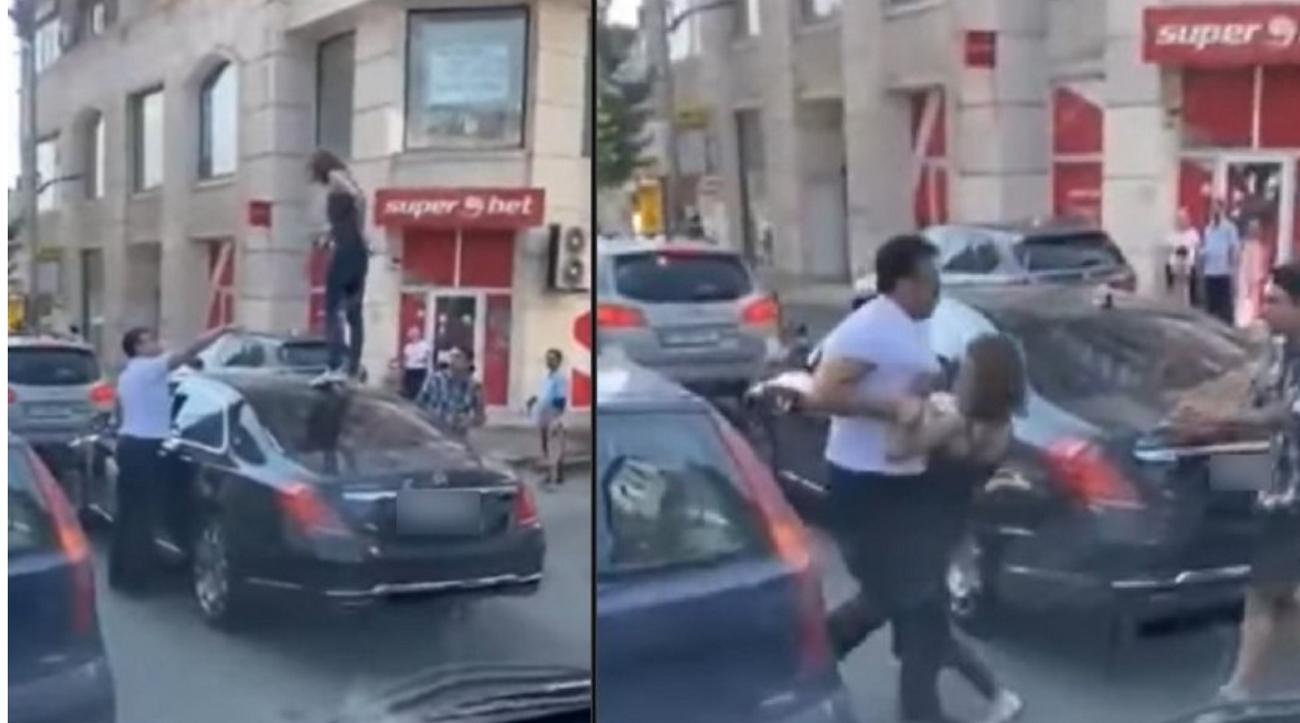 Moment incredibil în traficul din București. O femeie s-a urcat pe mașini oprite la semafor și a început să danseze pe capote. Poliția a luat-o pe sus și a dus-o la Obregia VIDEO