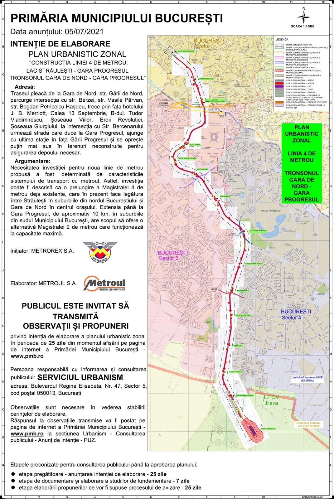 A început consultarea publică pentru extinderea metroului în Sectorul 5
