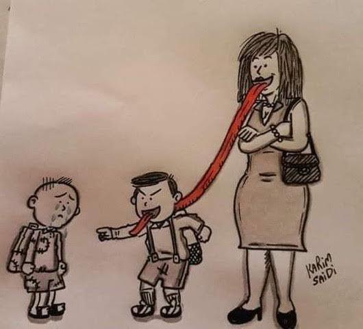 caricatura, parinti, si, copii