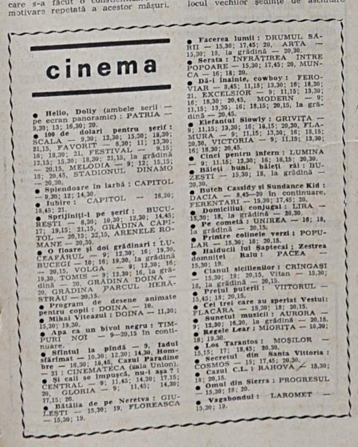 program, cinema, 1971