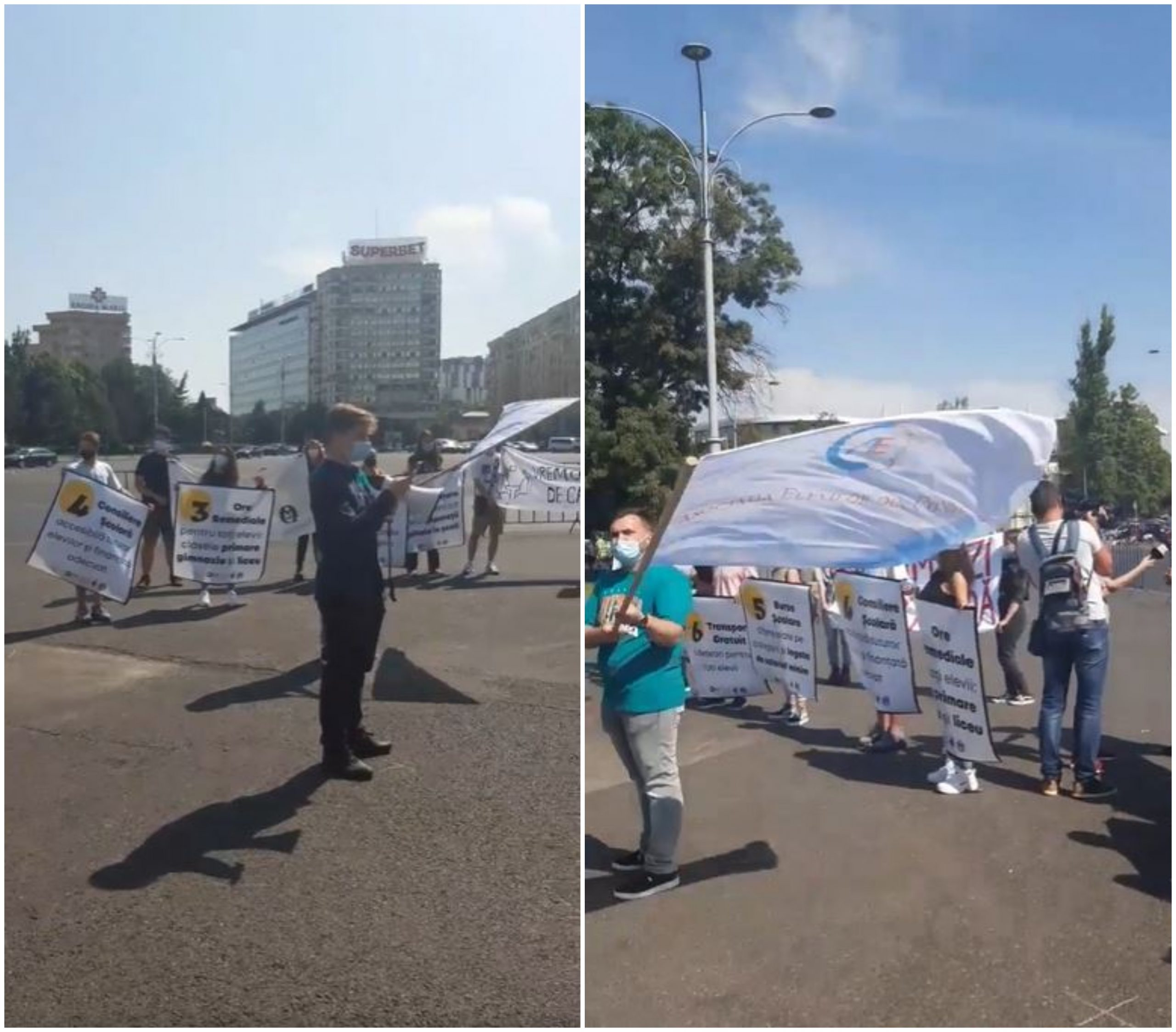 Elevii au protestat în prima zi de școală, în Piața Victoriei. Tinerii au avut 7 revendicări