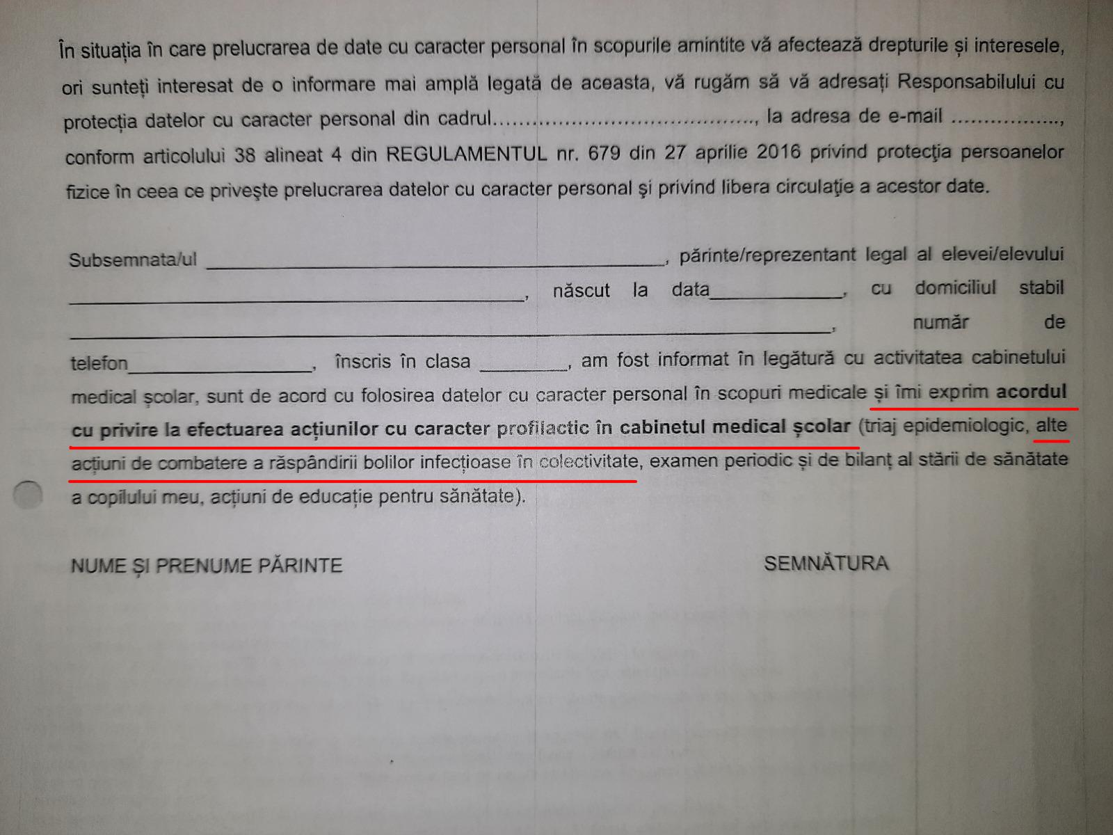 """""""Fișa de prezentare a cabinetului medical"""", formularul distribuit în școli care i-a alertat pe părinți. Răspuns oficial de la MEC legat de vaccinarea ascunsă"""