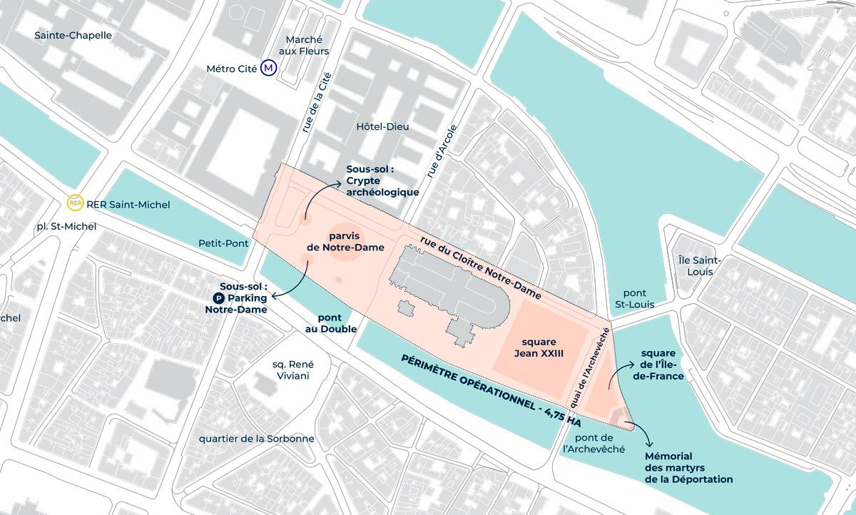 Harta împrejurimilor Catedralei Notre-Dame. Sursa FOTO: Primăria Parisului