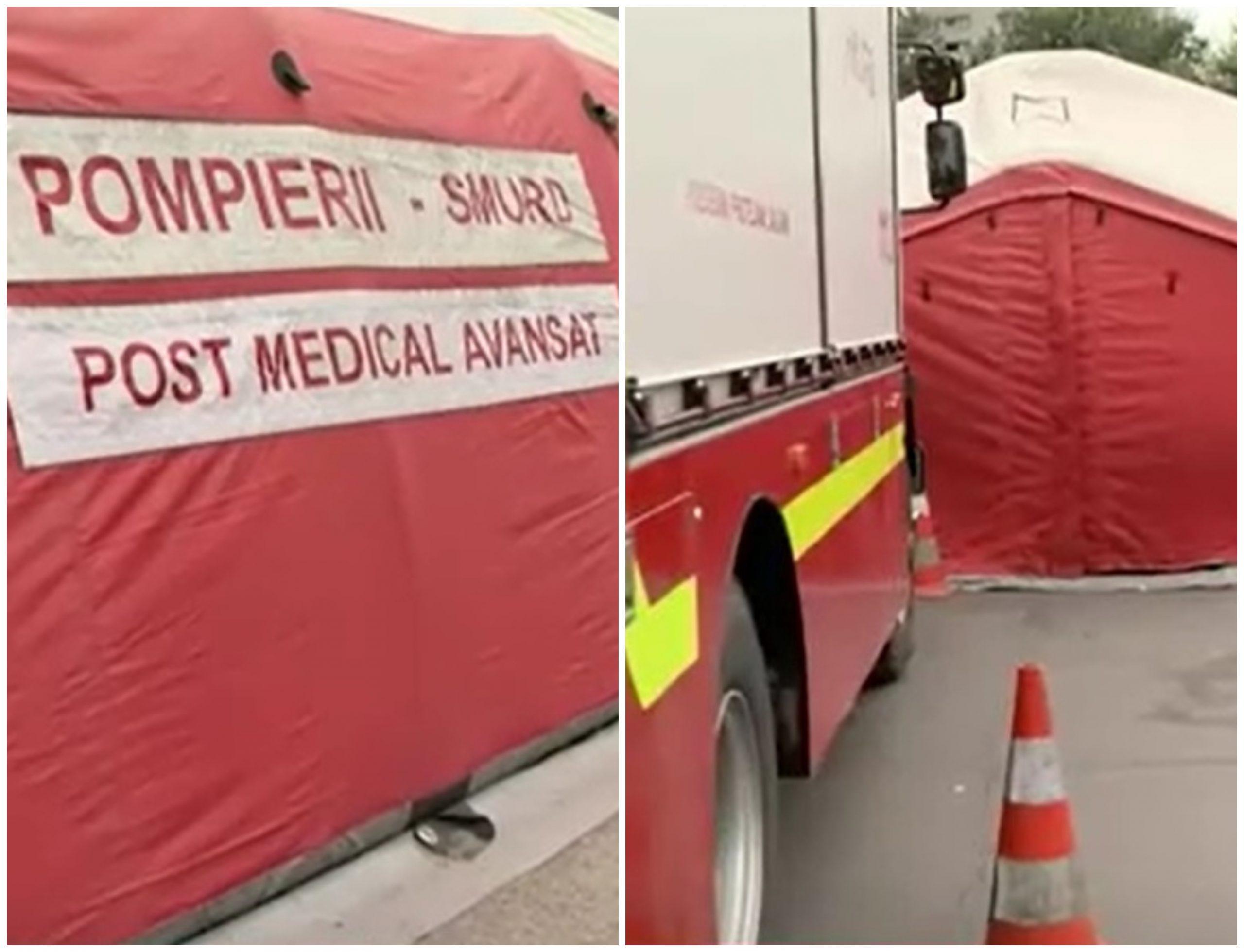Situația spitalelor din România. Cozi de ambulanțe la Spitalul Pantelimon din București și cort montat în curte